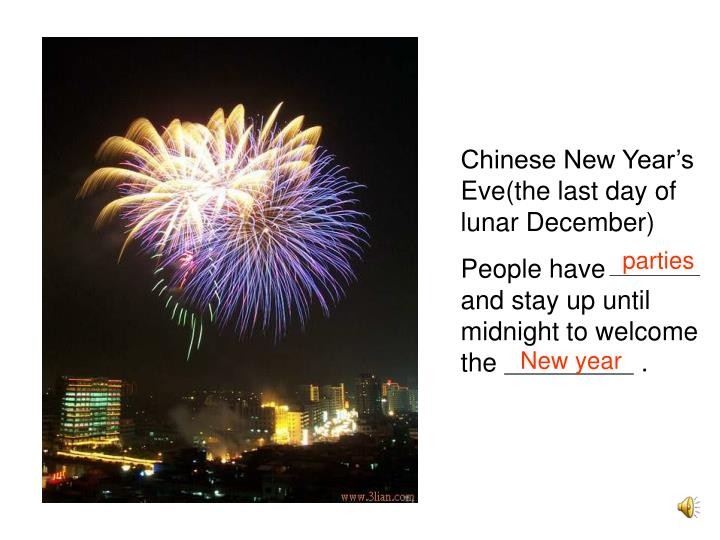 Chinese New Year's Eve(the last day of lunar December)