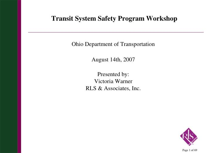 transit system safety program workshop n.
