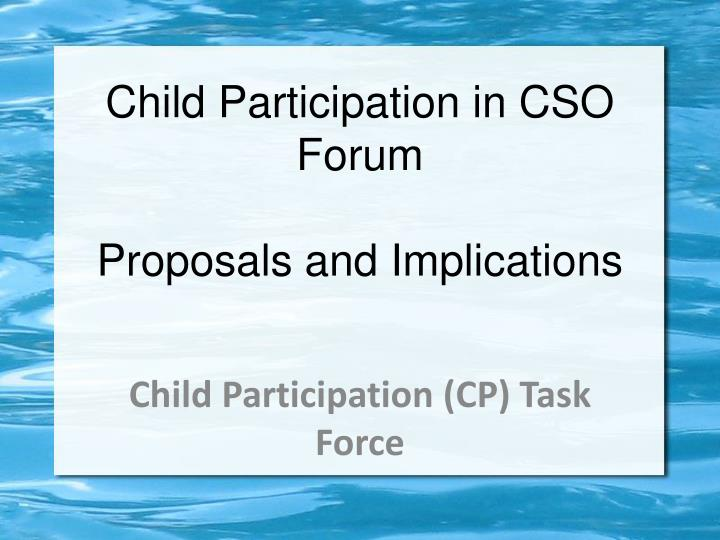 Child Participation in CSO Forum