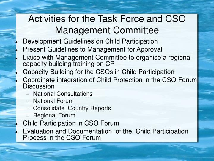 Activities for the Task Force and CSO Management Committee