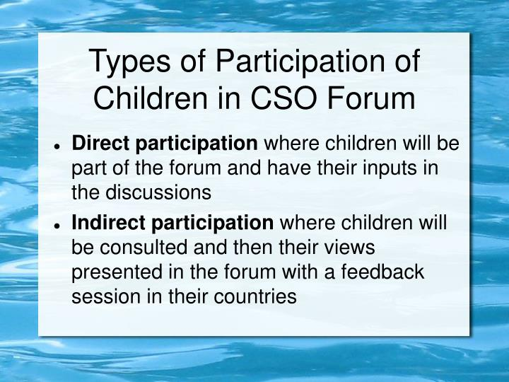 Types of Participation of Children in CSO Forum