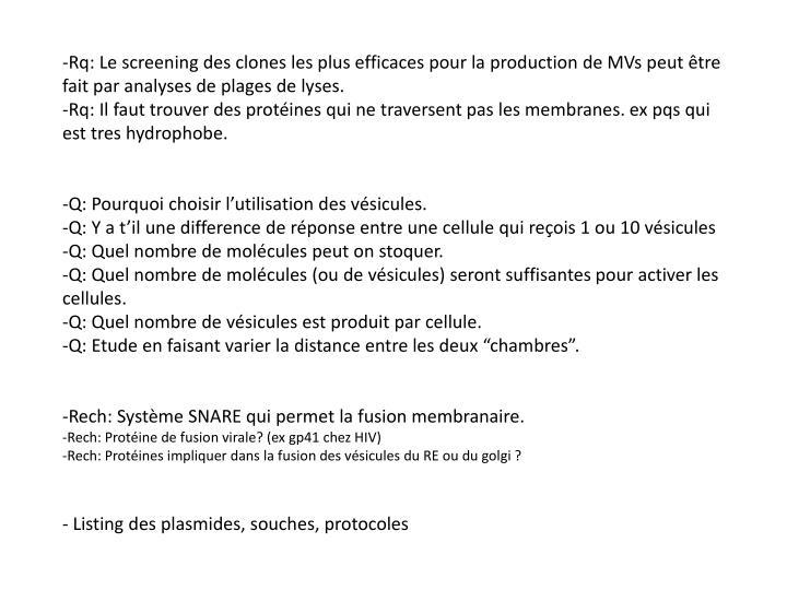 -Rq: Le screening des clones les plus efficaces pour la production de MVs peut être fait par analys...