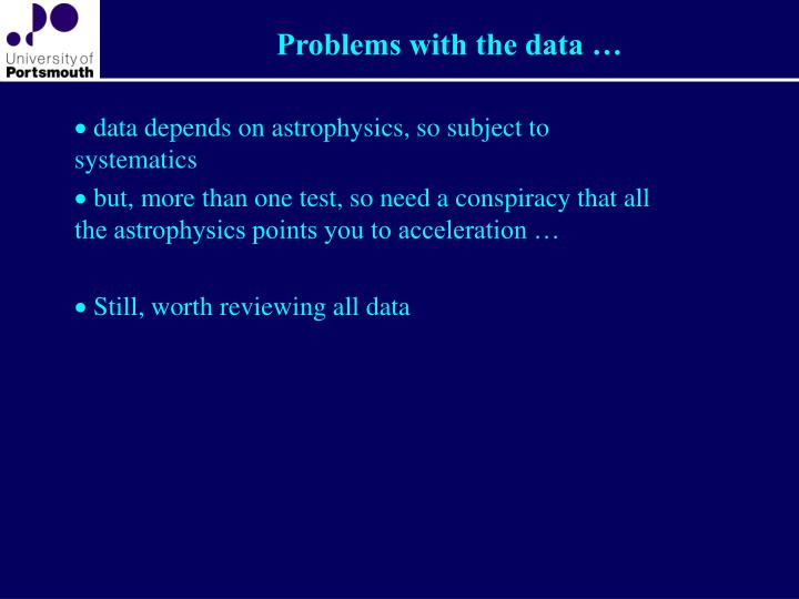 Problems with the data …