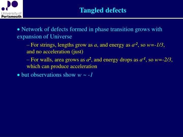 Tangled defects