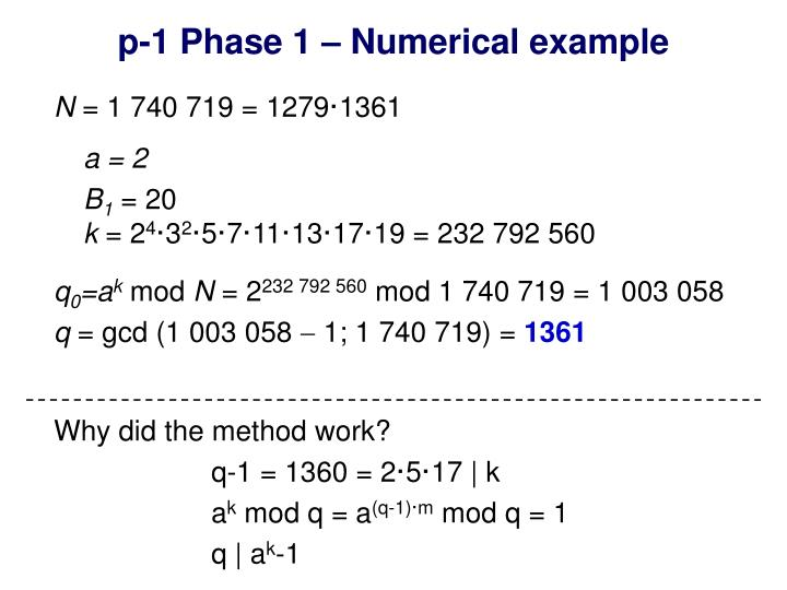 p-1 Phase 1 – Numerical example