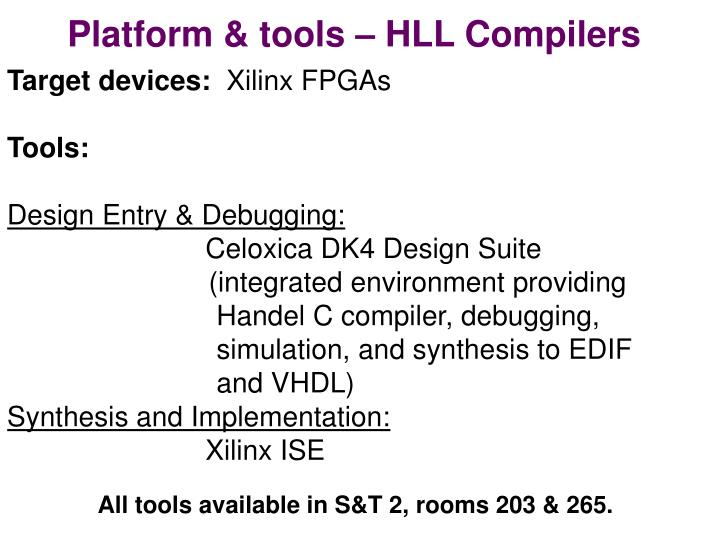 Platform & tools – HLL Compilers