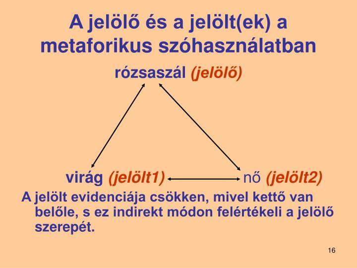 A jelölő és a jelölt(ek) a metaforikus szóhasználatban