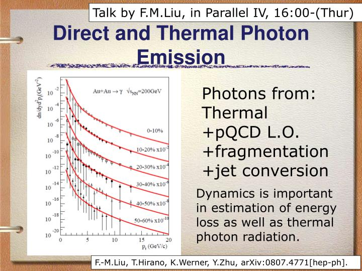 Talk by F.M.Liu, in Parallel IV, 16:00-(Thur)