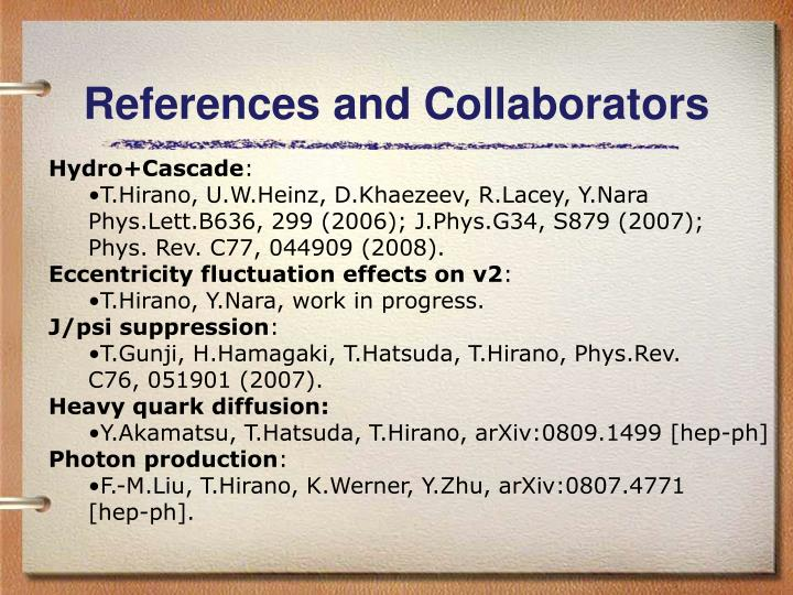 References and Collaborators