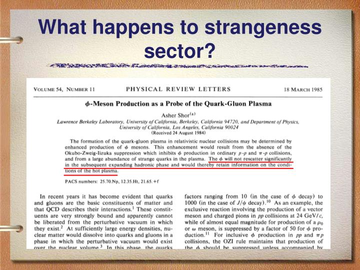 What happens to strangeness sector?