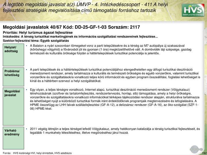 Megoldási javaslatok 40/67 Kód: DD-25-GF-1-03 Sorszám: 2117