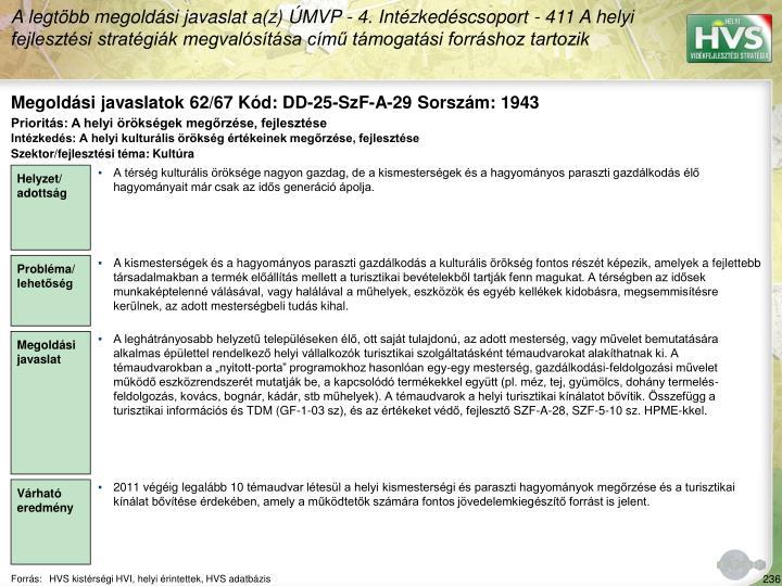 Megoldási javaslatok 62/67 Kód: DD-25-SzF-A-29 Sorszám: 1943