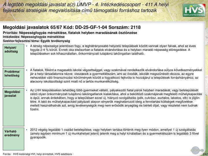 Megoldási javaslatok 65/67 Kód: DD-25-GF-1-04 Sorszám: 2118
