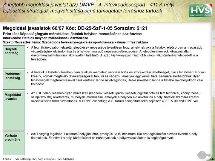 Megoldási javaslatok 66/67 Kód: DD-25-SzF-1-05 Sorszám: 2121