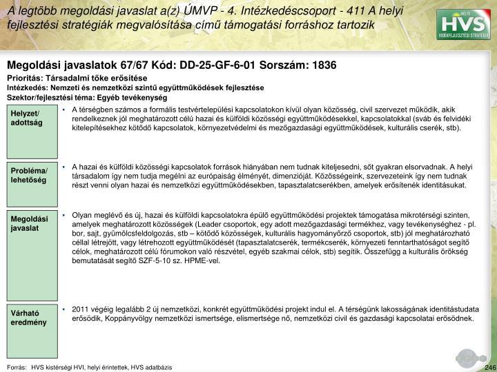 Megoldási javaslatok 67/67 Kód: DD-25-GF-6-01 Sorszám: 1836