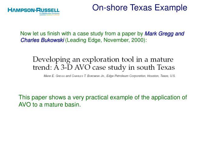 On-shore Texas Example