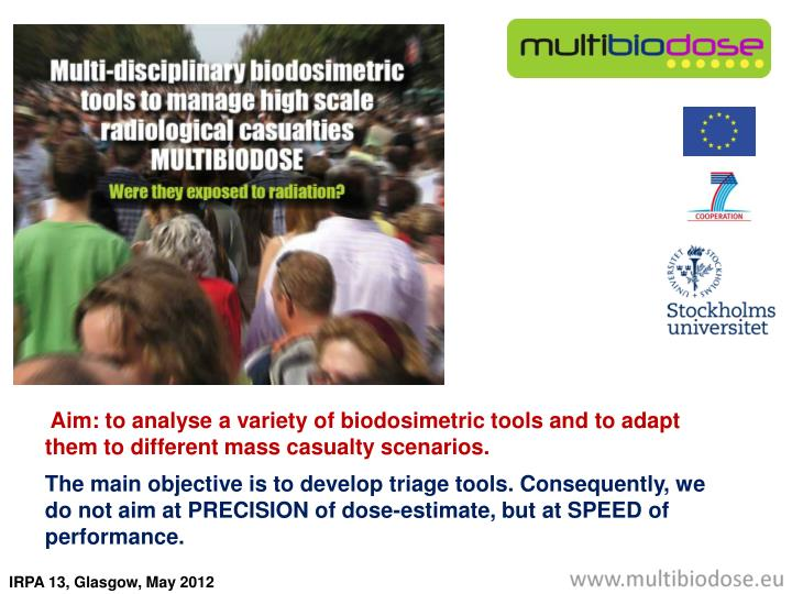 Aim: to analyse a variety of biodosimetric tools and to adapt them to different mass casualty scena...
