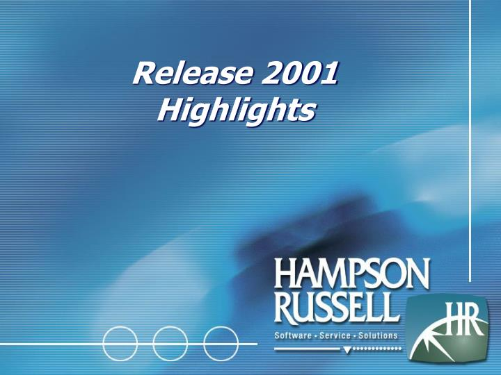 release 2001 highlights n.