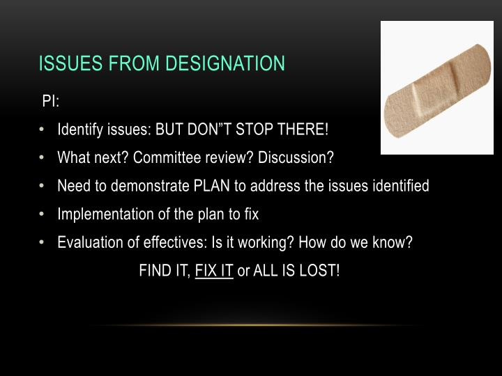 Issues from Designation