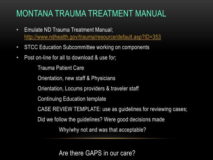 Montana Trauma Treatment Manual
