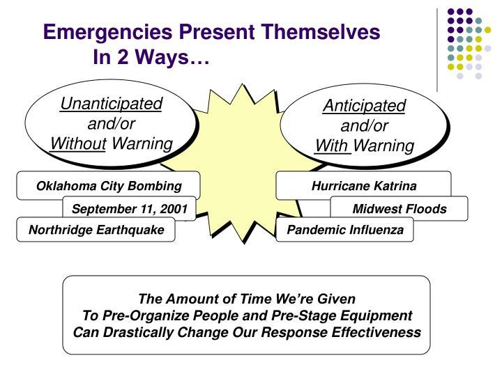 Emergencies Present Themselves