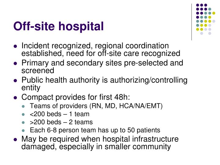 Off-site hospital