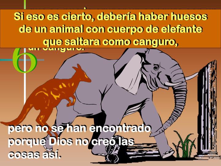 Si eso es cierto, debería haber huesos de un animal con cuerpo de elefante que saltara como canguro,