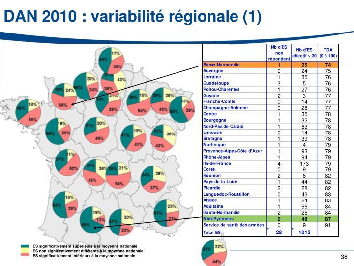 DAN 2010 : variabilité régionale (1)
