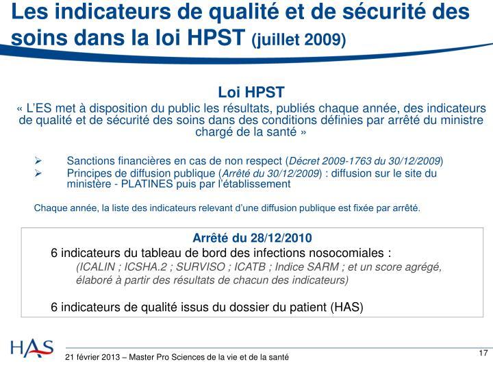 Les indicateurs de qualité et de sécurité des soins dans la loi HPST