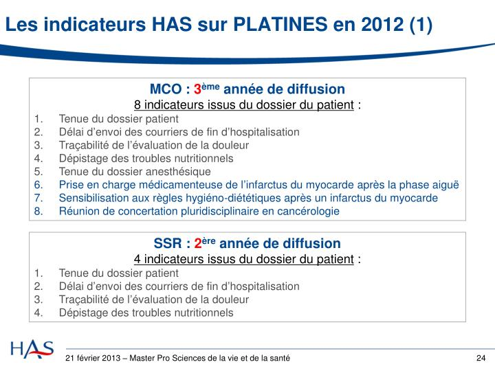 Les indicateurs HAS sur PLATINES en 2012 (1)