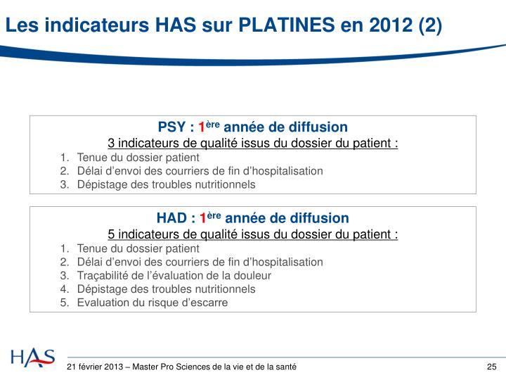 Les indicateurs HAS sur PLATINES en 2012 (2)