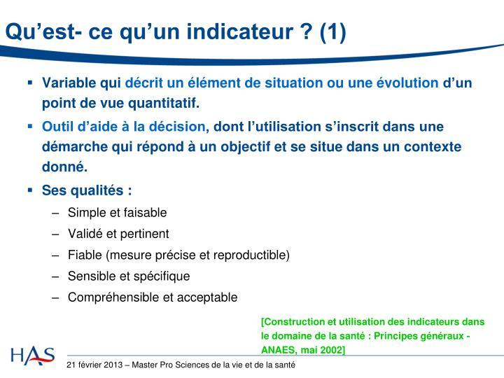Qu'est- ce qu'un indicateur ? (1)