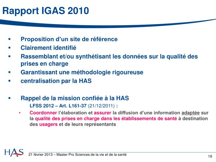 Rapport IGAS 2010