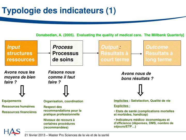 Typologie des indicateurs (1)