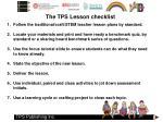 the tps lesson checklist
