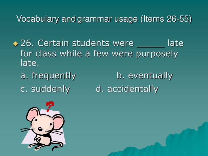 vocabulary and grammar usage items 26 55 n.