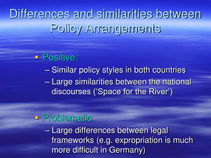Differences and similarities between Policy Arrangements