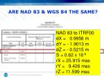 are nad 83 wgs 84 the same1