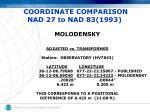 coordinate comparison nad 27 to nad 83 1993