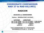 coordinate comparison nad 27 to nad 83 19931