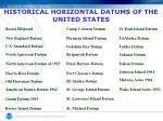 historical horizontal datums of the united states