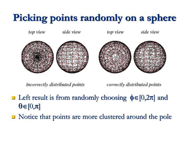 Picking points randomly on a sphere