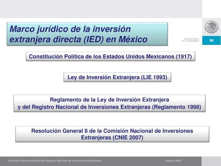 Marco jurídico de la inversión extranjera directa (IED) en México
