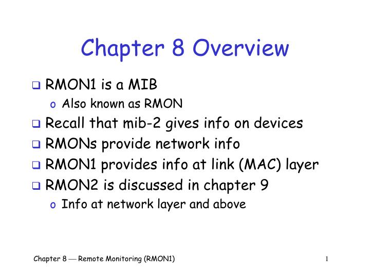 chapter 8 overview n.