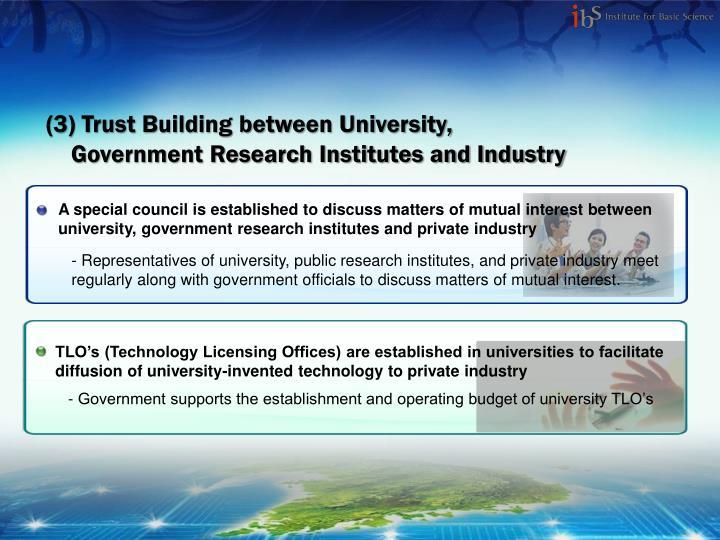 (3) Trust Building between University,
