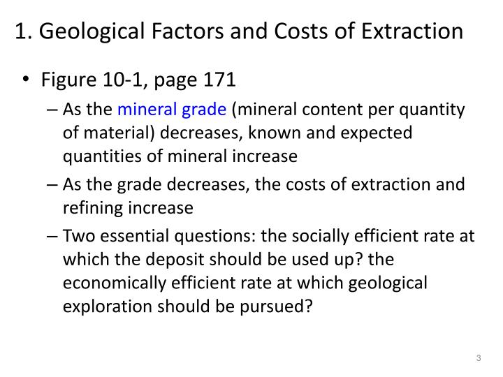 1 geological factors and costs of extraction