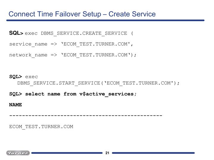 Connect Time Failover Setup – Create Service