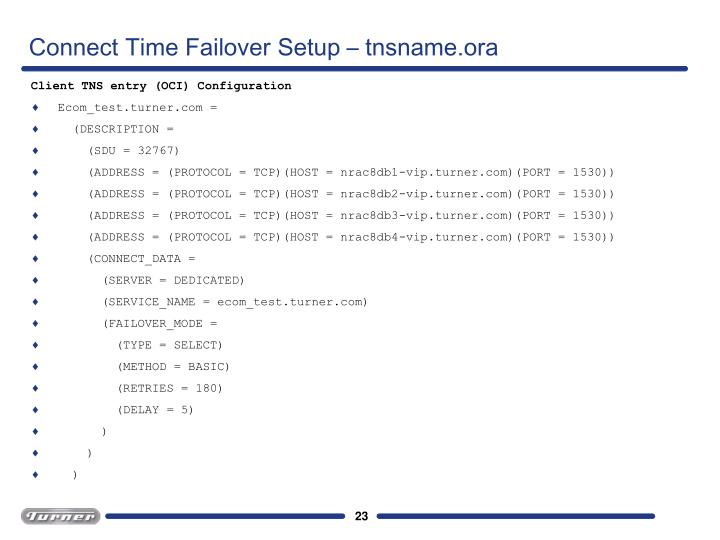 Connect Time Failover Setup – tnsname.ora