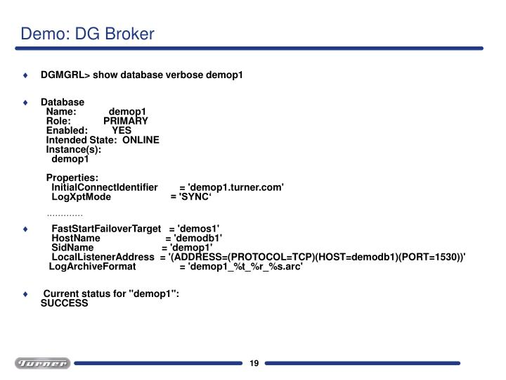 Demo: DG Broker