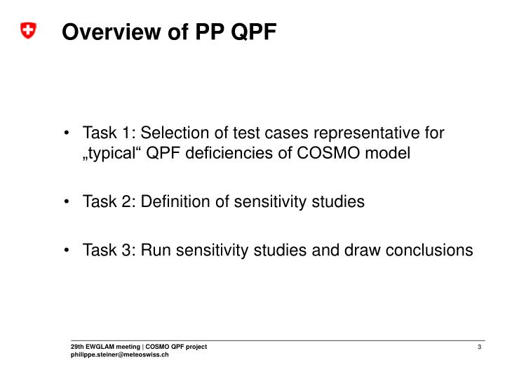 Overview of pp qpf